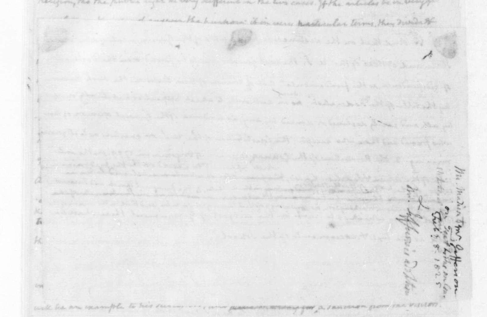 James Madison to Thomas Jefferson, February 8, 1825. With written sketch.