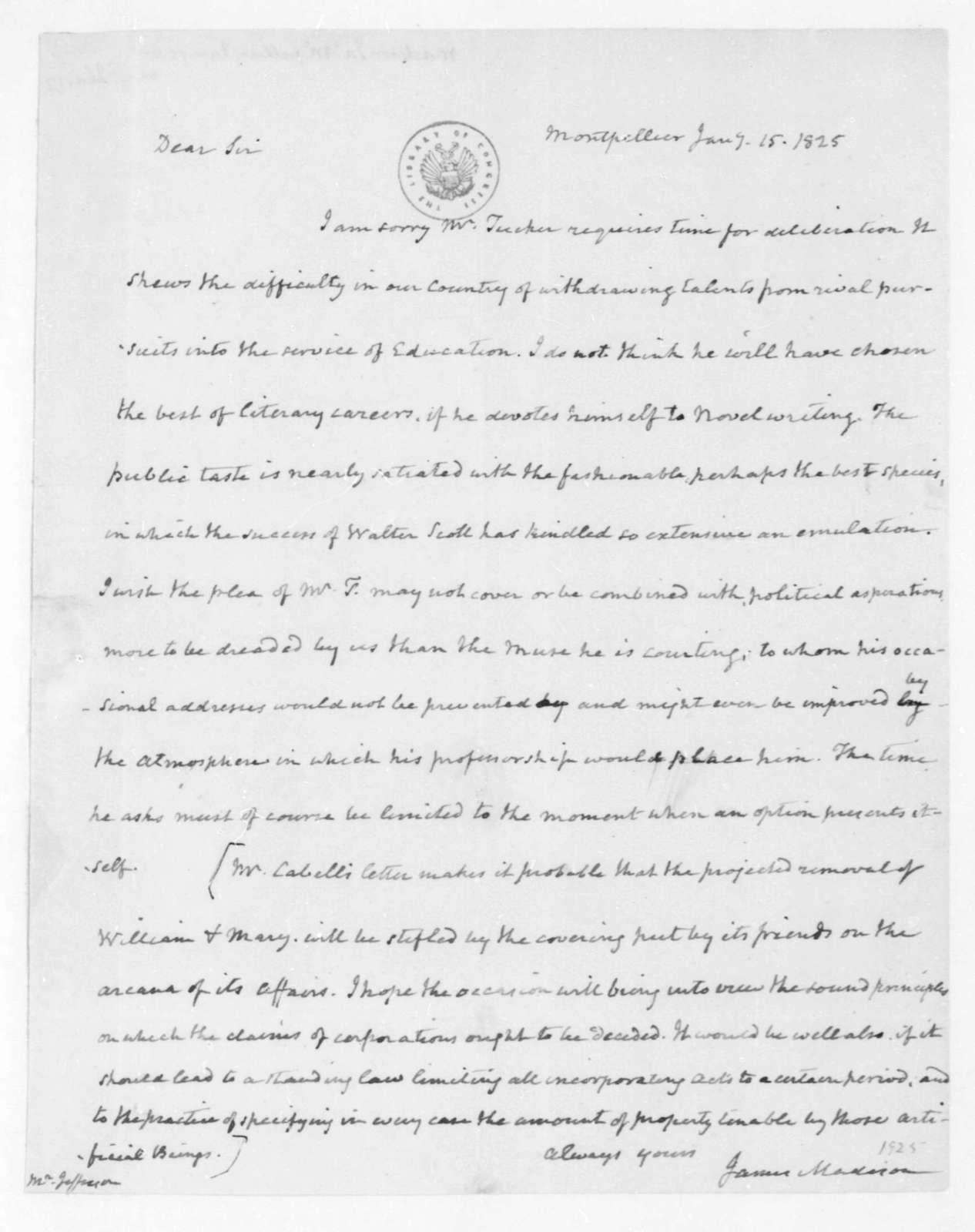 James Madison to Thomas Jefferson, January 15, 1825.