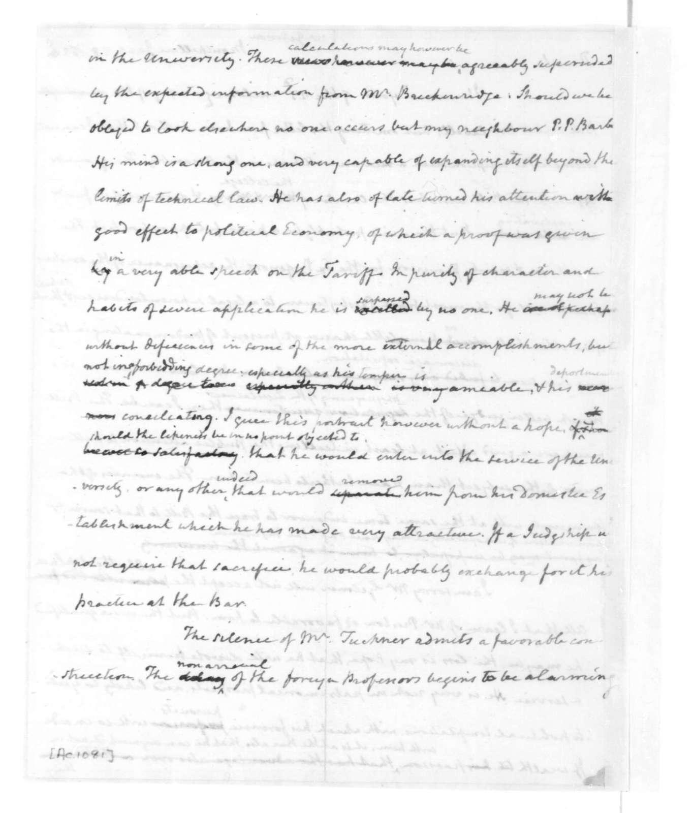 James Madison to Thomas Jefferson, January 28, 1825.