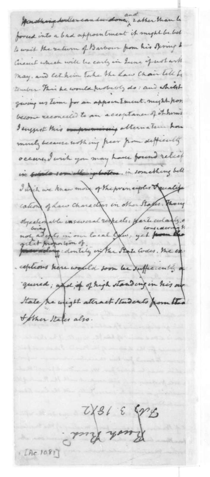 James Madison to Thomas Jefferson, March 26, 1825. With Copy.