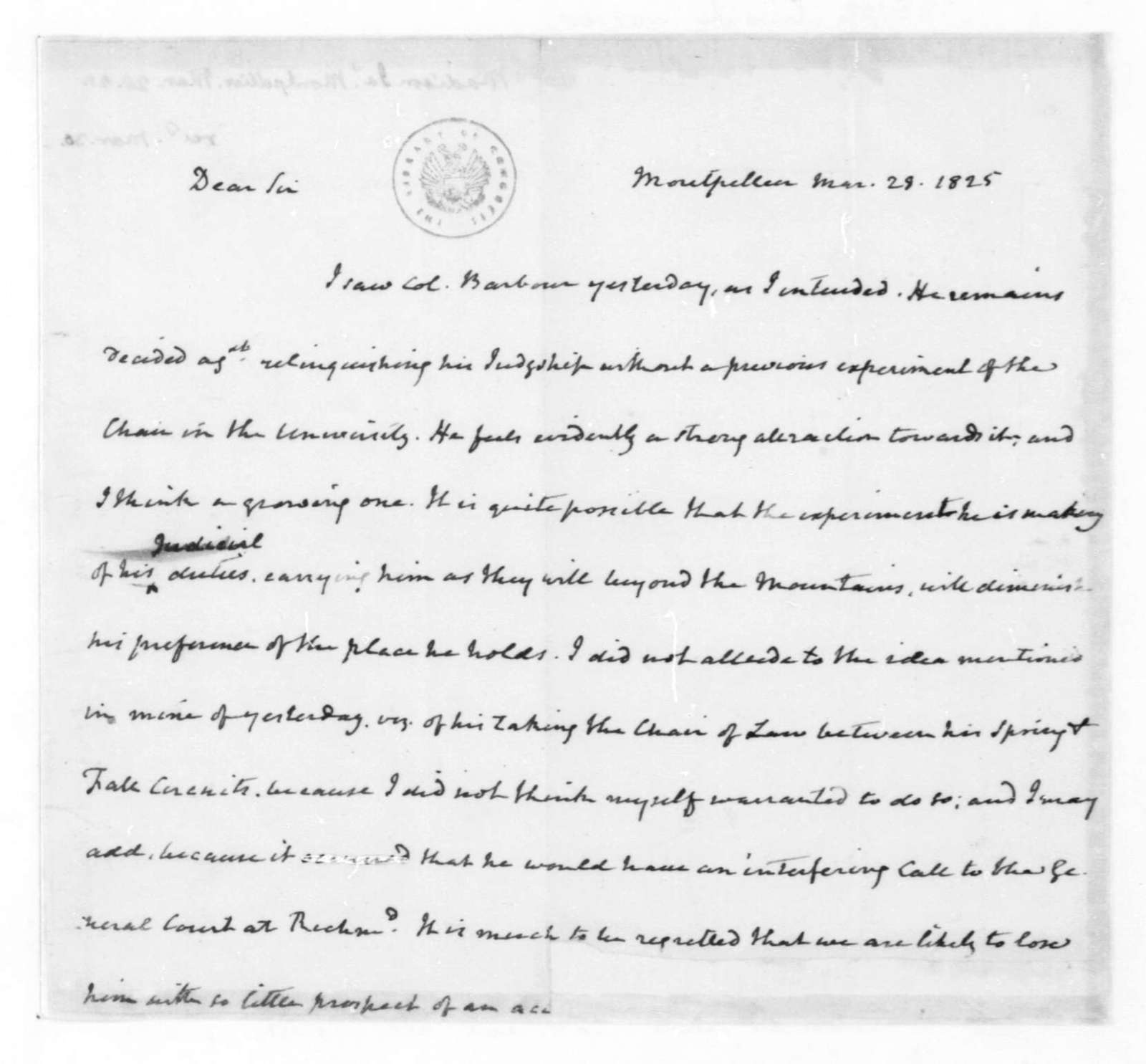 James Madison to Thomas Jefferson, March 28, 1825.
