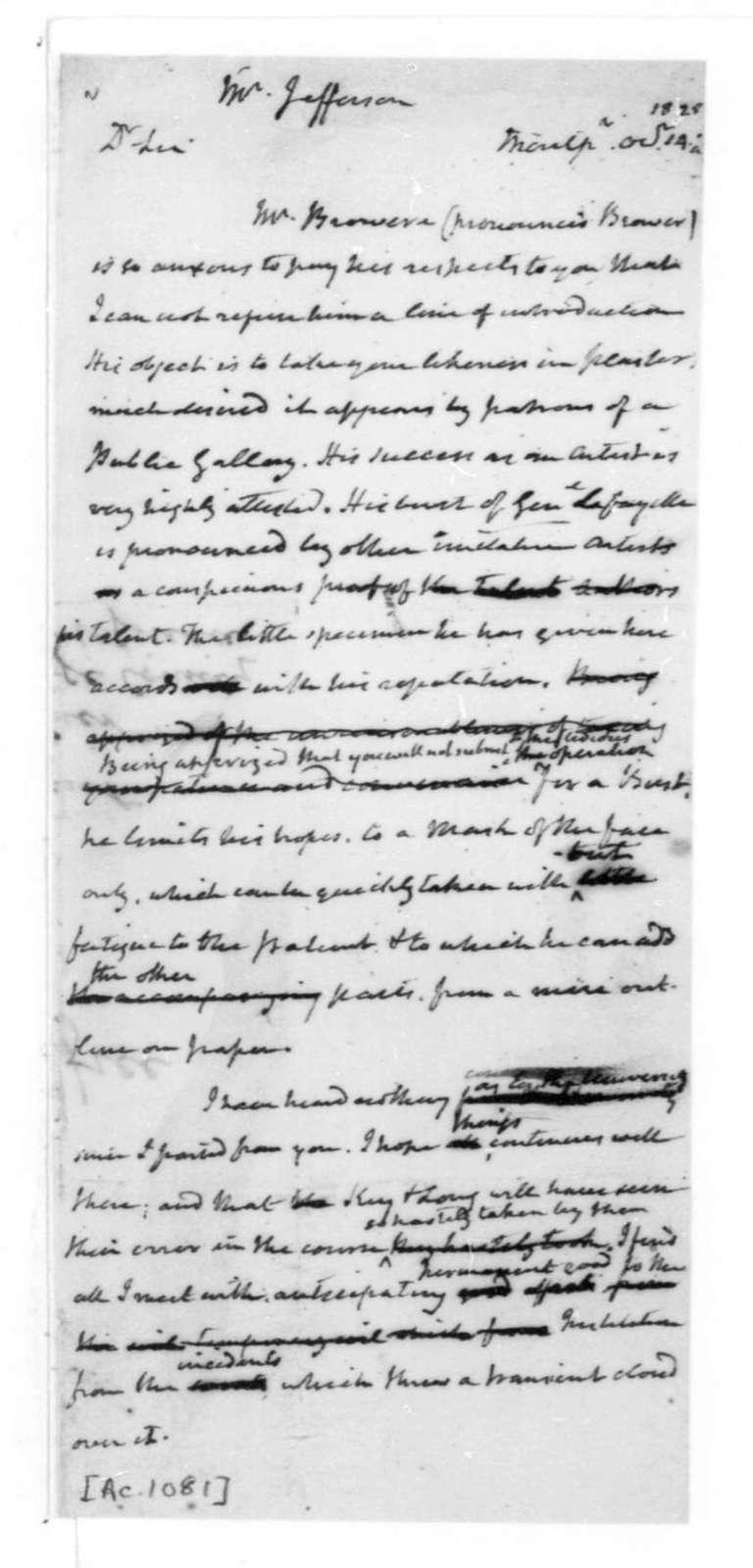 James Madison to Thomas Jefferson, October 14, 1825.