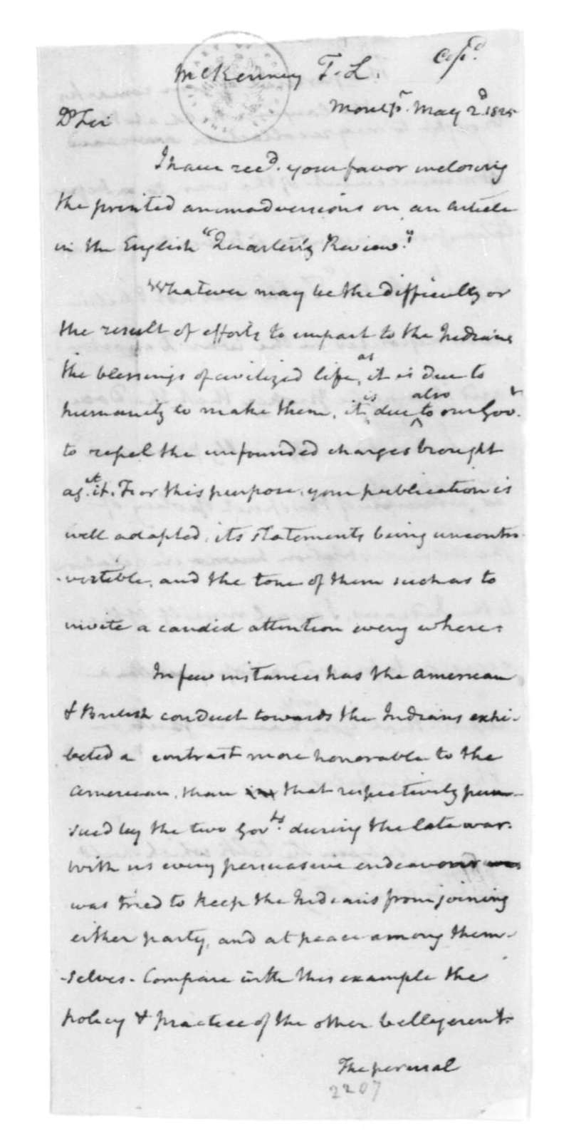 James Madison to Thomas L. McKenney, May 2, 1825.