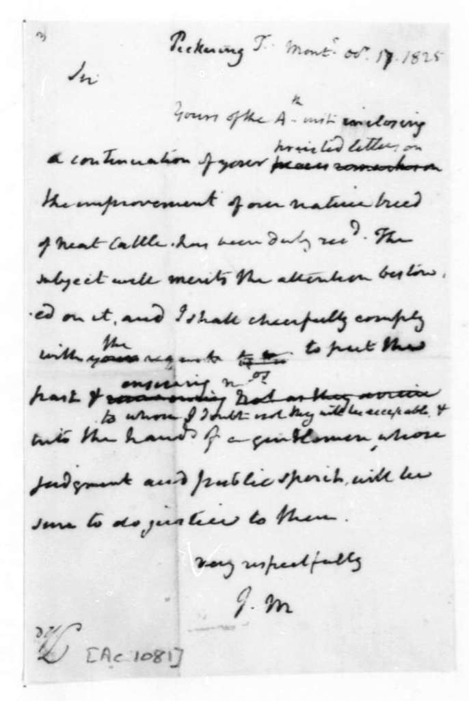 James Madison to Timothy Pickering, October 17, 1825.