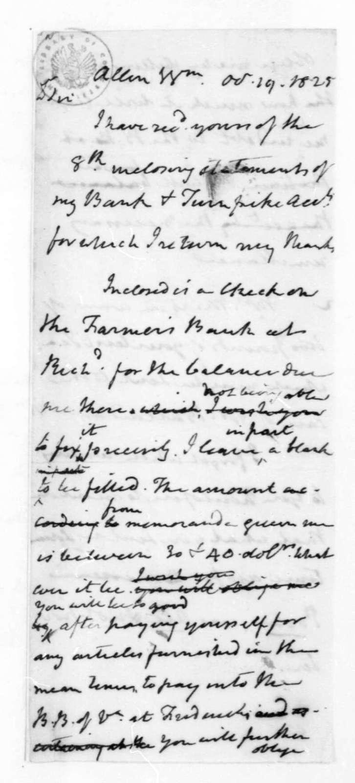 James Madison to William Allen, October 19, 1825.