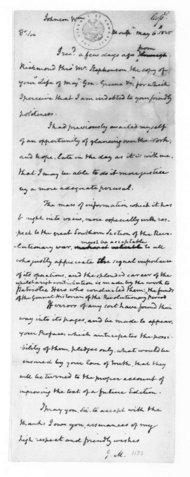 James Madison to William Johnson, May 6, 1825.