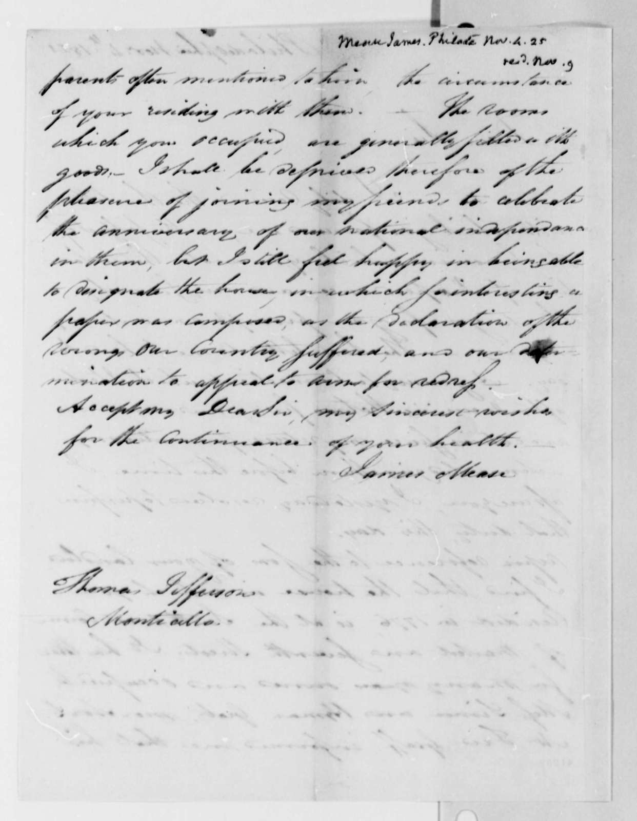 James Mease to Thomas Jefferson, November 4, 1825