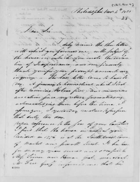 James Mease to Thomas Jefferson, November 4, 1825