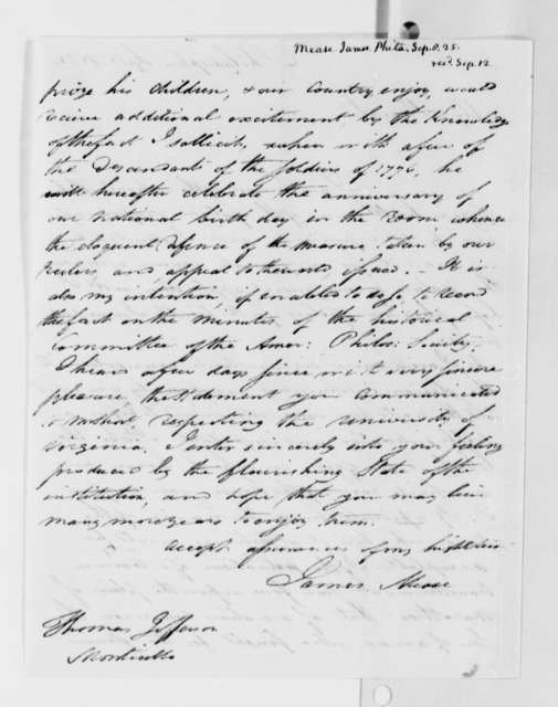 James Mease to Thomas Jefferson, September 8, 1825