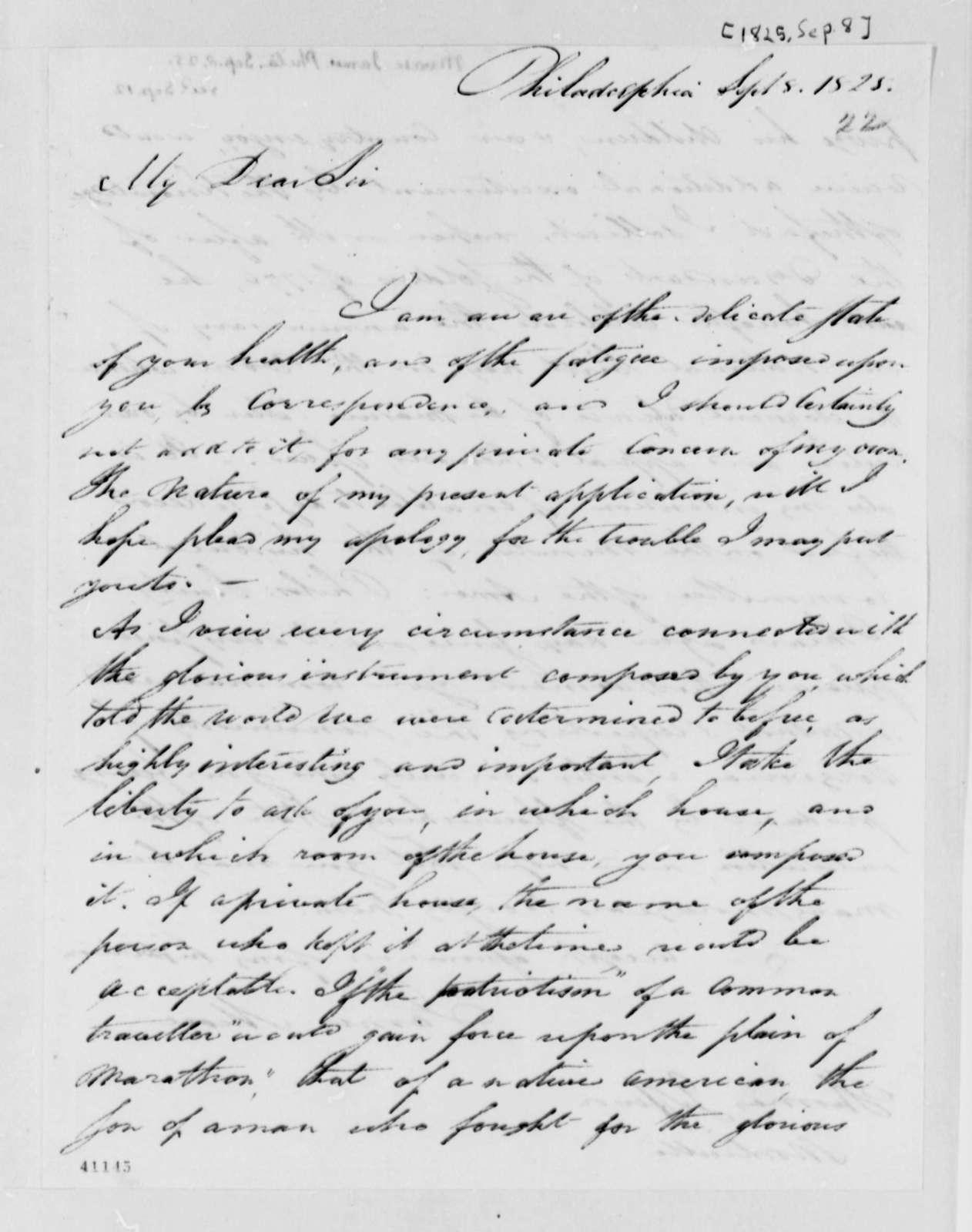 James Mease to Thomas Jefferson, September 8, 1825