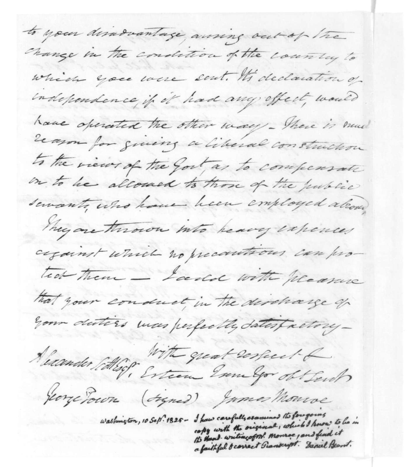 James Monroe to Alexander Scott, July 5, 1825. Includes a note from Daniel Brent dated Sept. 10, 1825.
