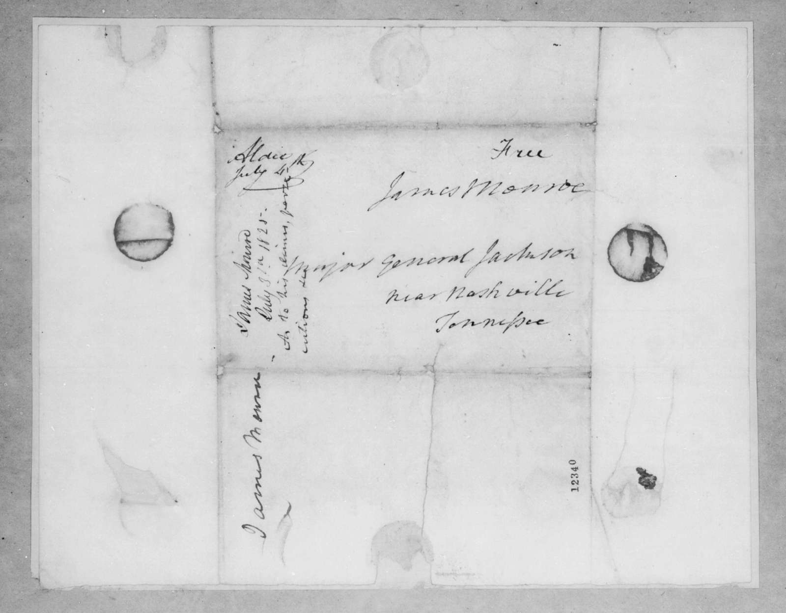 James Monroe to Andrew Jackson, July 31, 1825