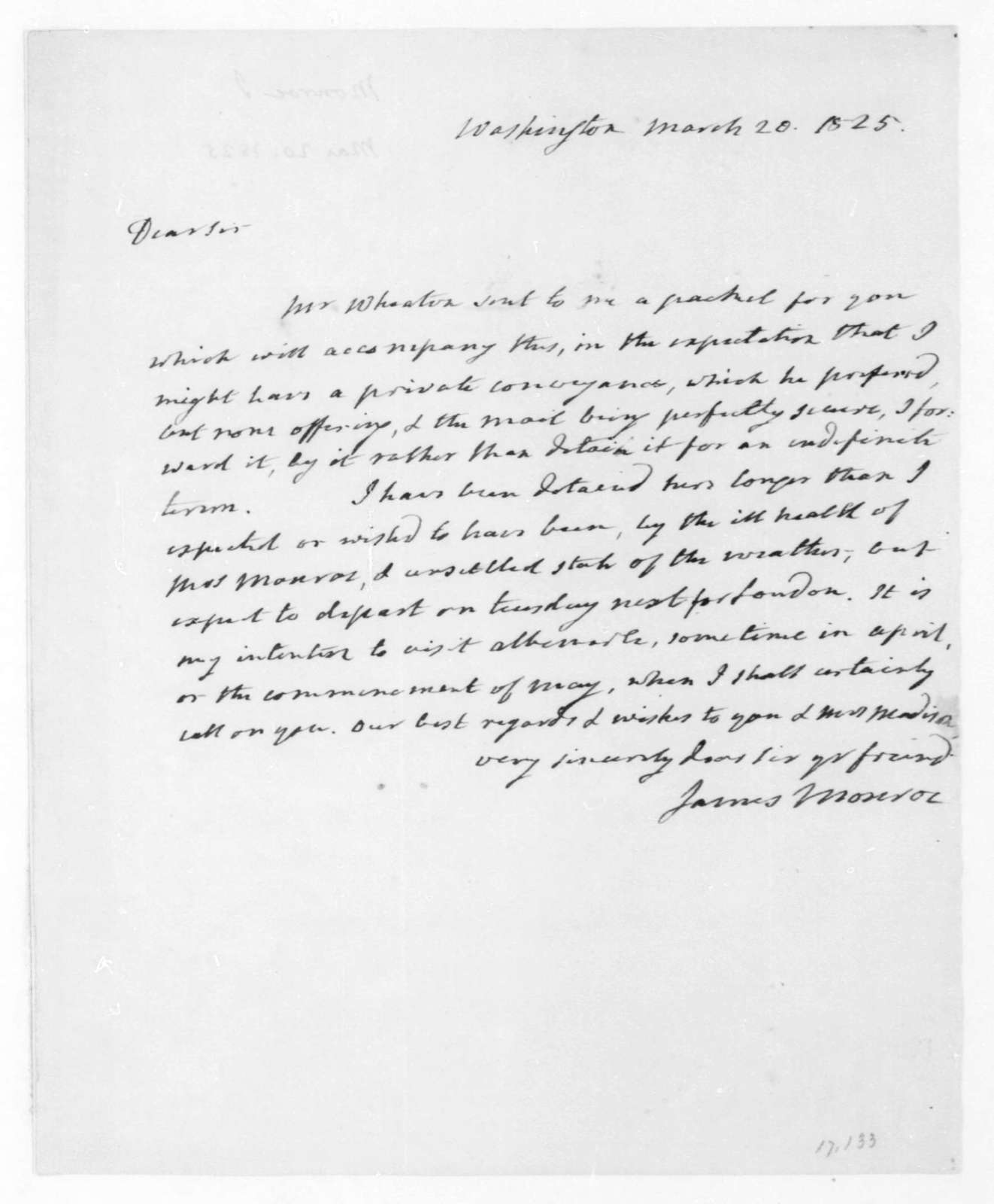 James Monroe to James Madison, March 20, 1825.