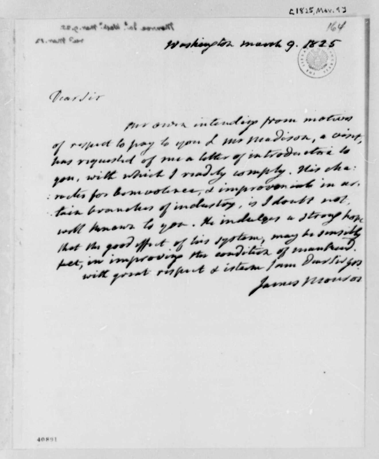 James Monroe to Thomas Jefferson, March 9, 1825