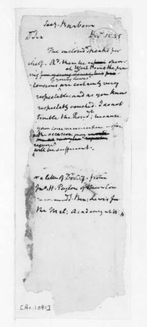 James S. Barbour to James Madison, December 15, 1825.