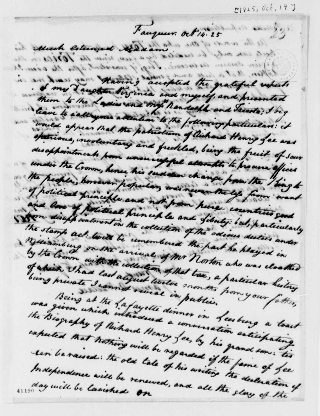 James W. Wallace to Martha Jefferson Randolph, October 14, 1825