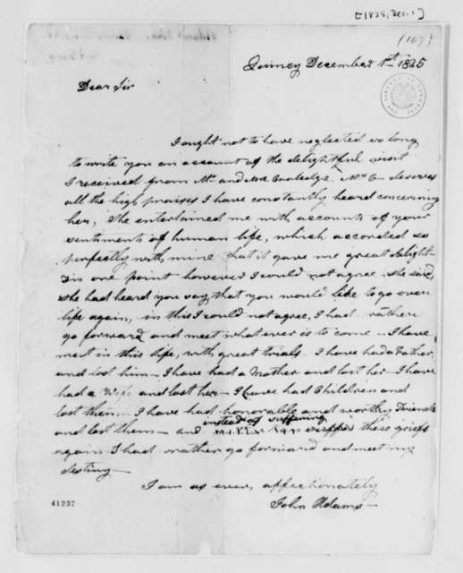 John Adams to Thomas Jefferson, December 1, 1825