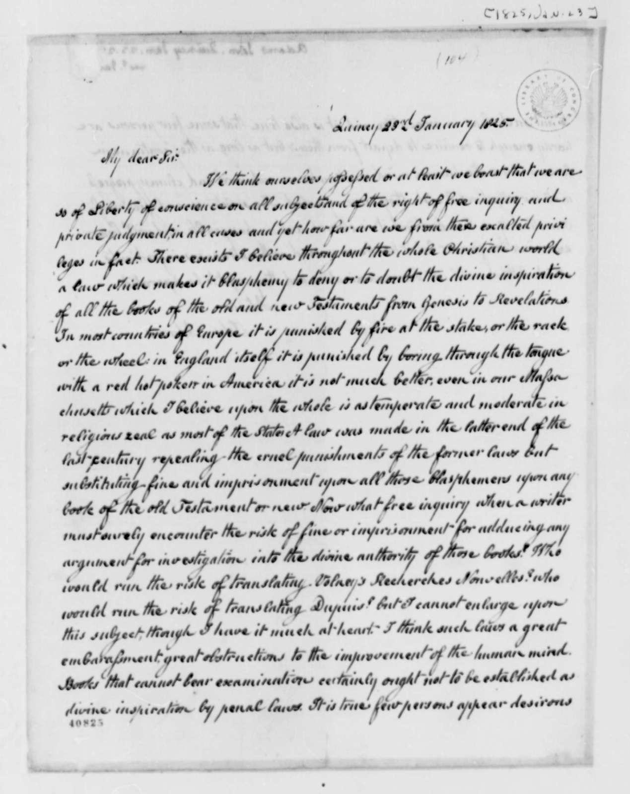 John Adams to Thomas Jefferson, January 23, 1825