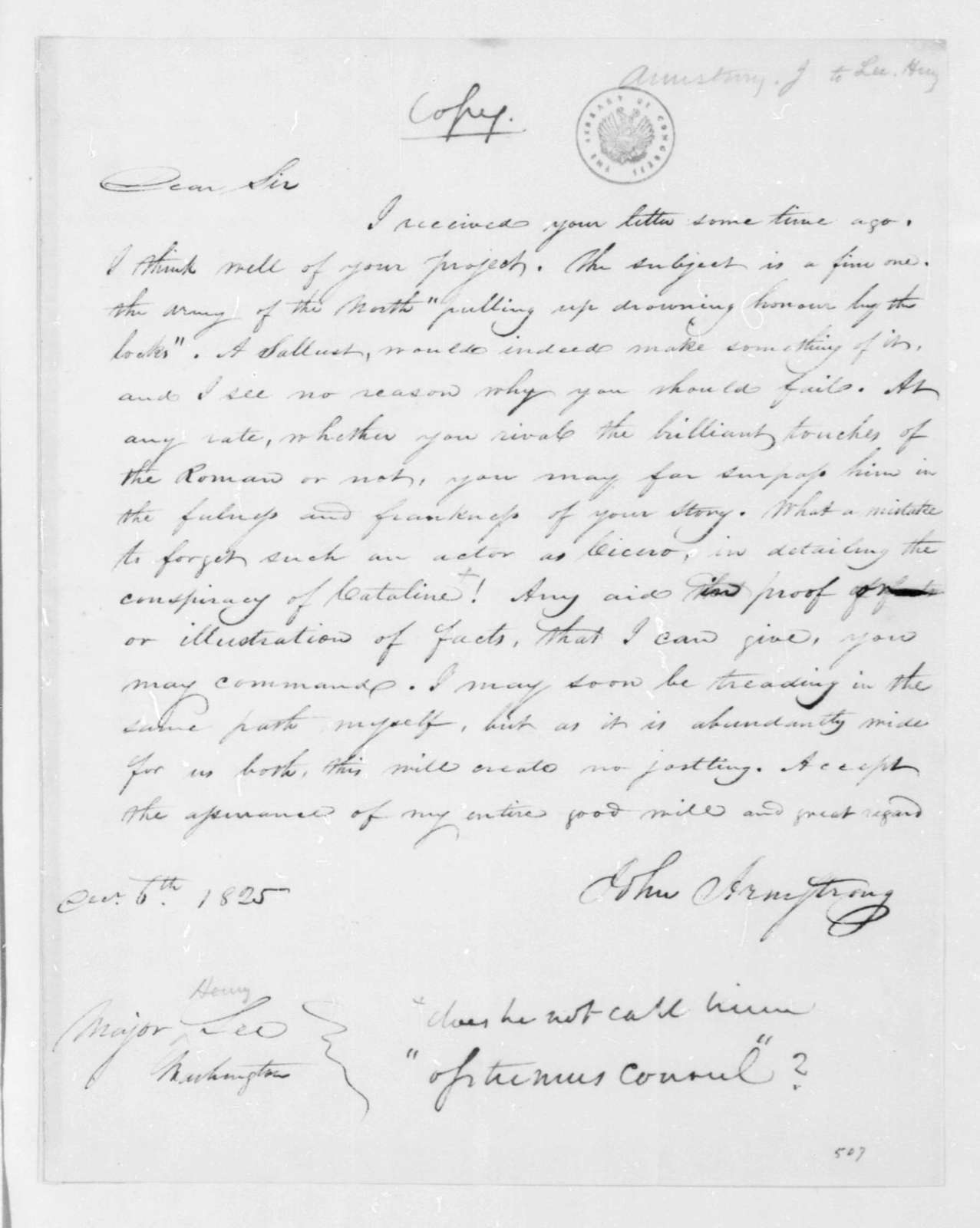 John Armstrong to Henry Lee, December 6, 1825.