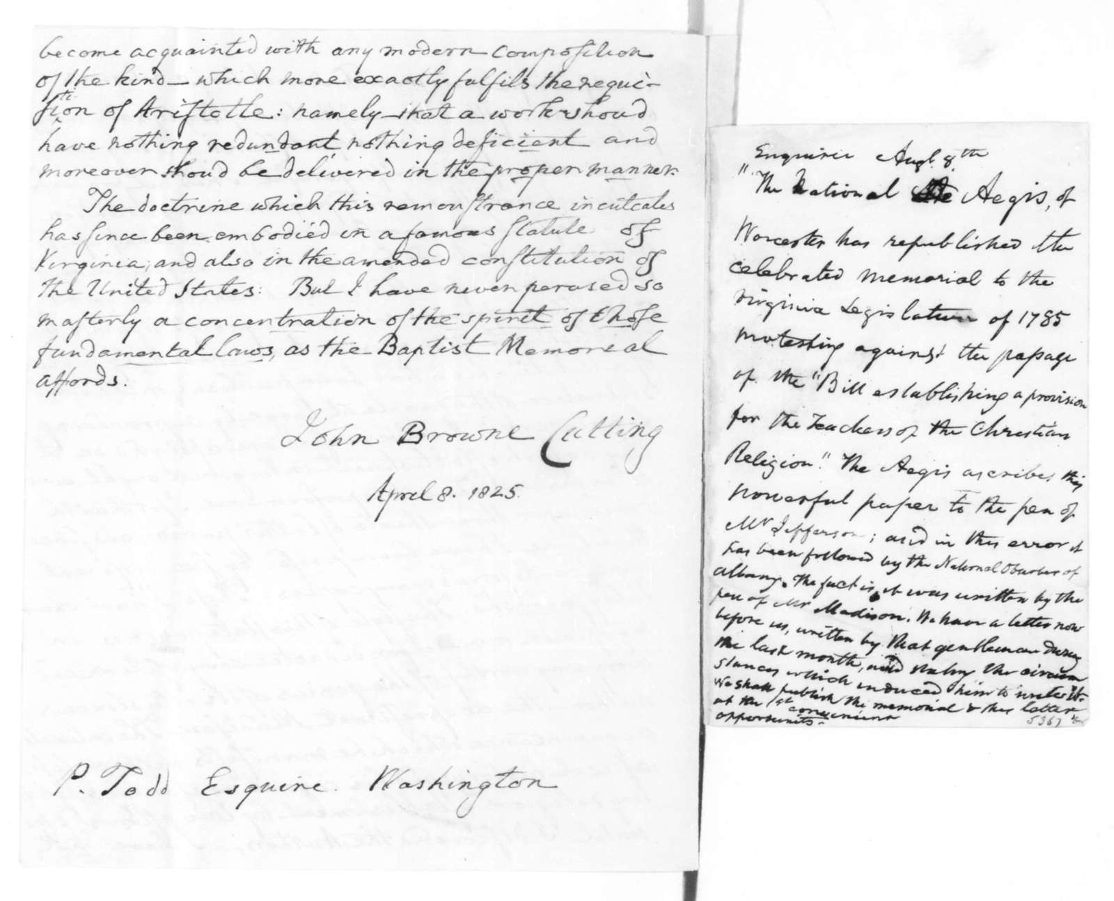 John B. Cutting to P. Todd, April 8, 1825. & Note by James Madison.