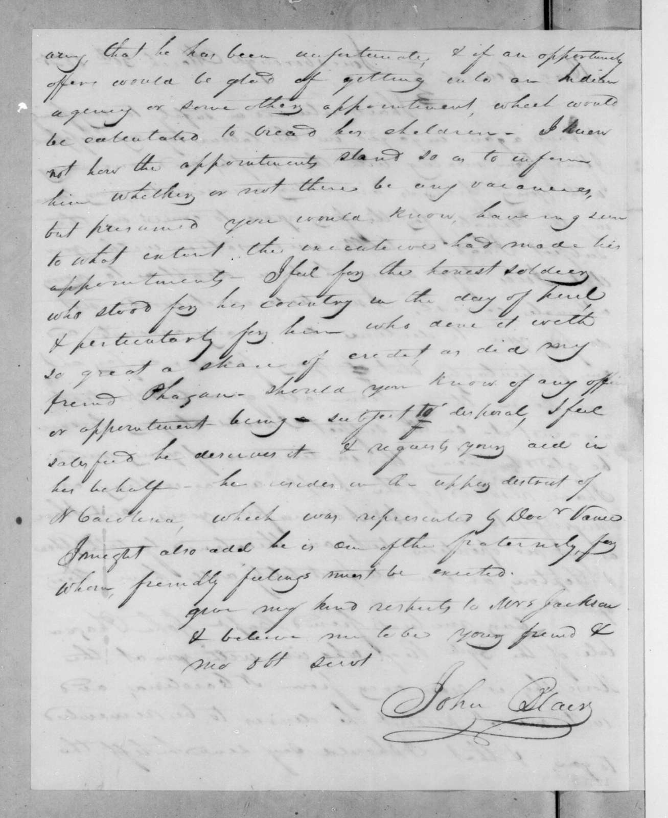 John Blair to Andrew Jackson, March 30, 1825