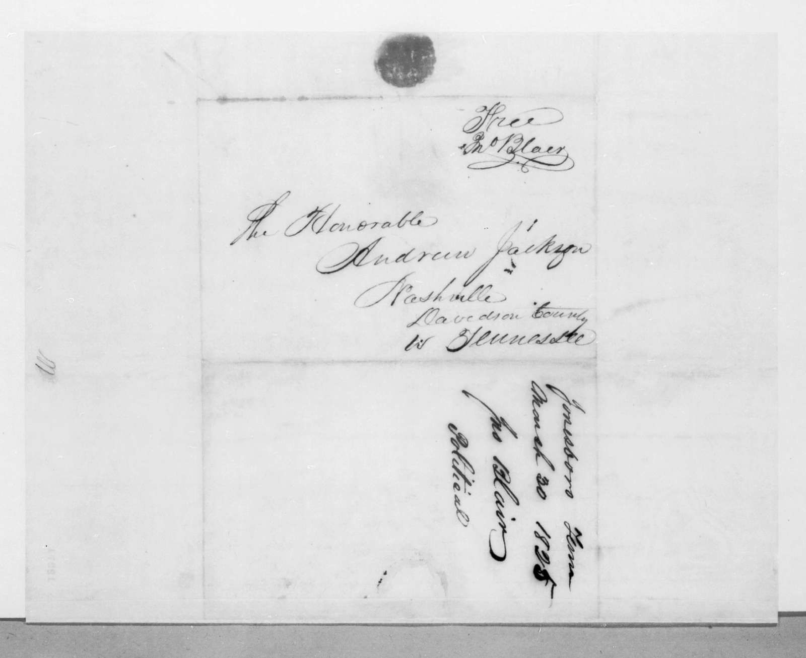 John Blair to Andrew Jackson, March 30, 1825