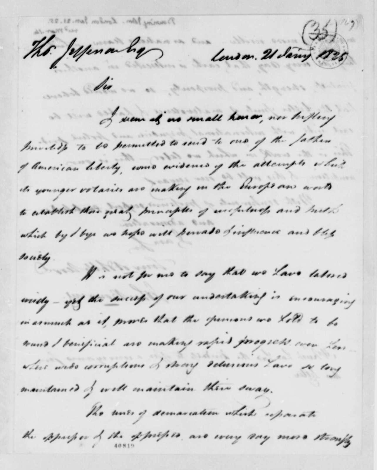 John Bowring to Thomas Jefferson, January 21, 1825