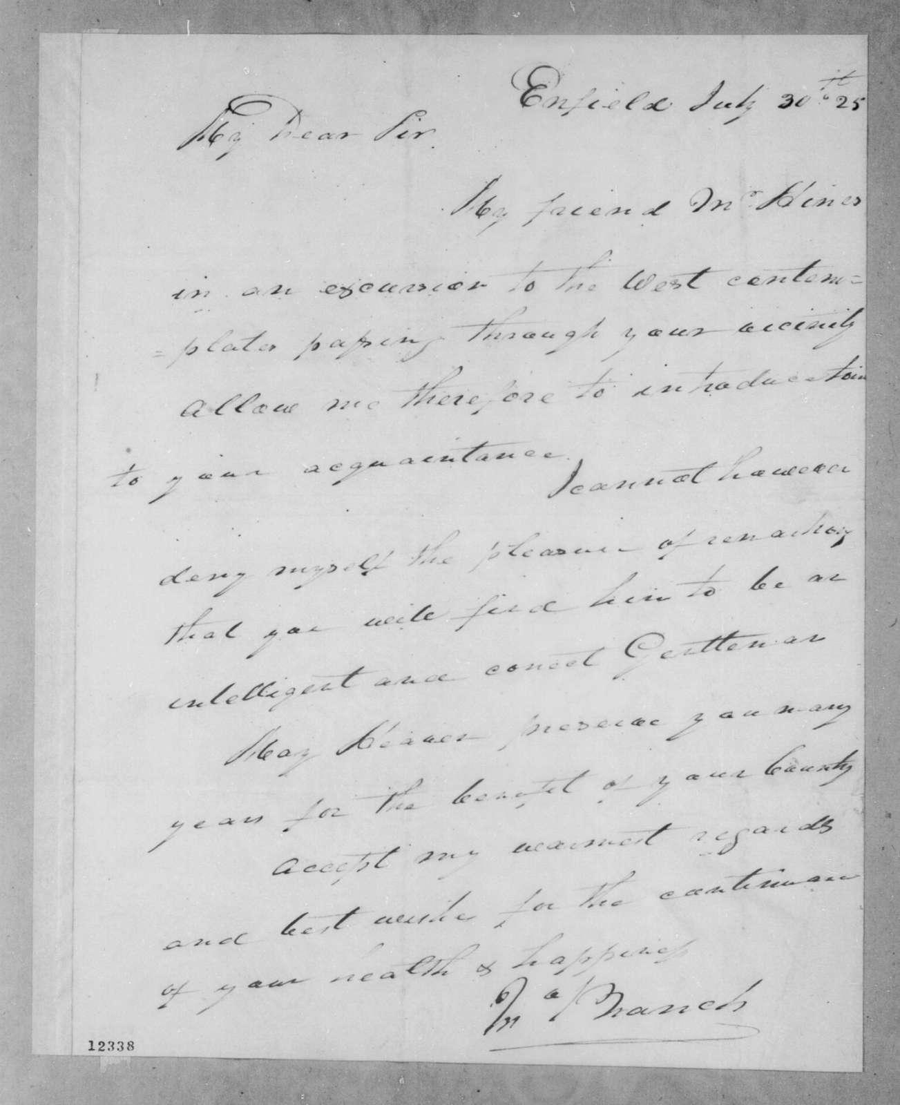 John Branch to Andrew Jackson, July 30, 1825