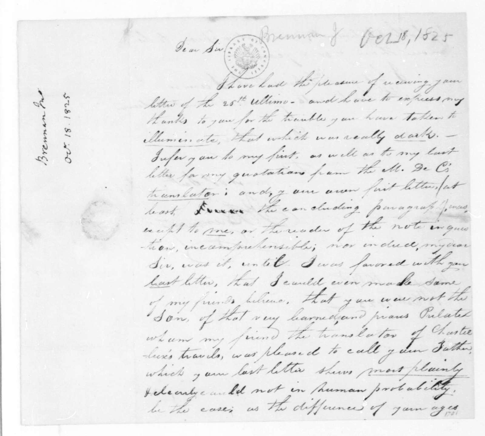 John Brennan to James Madison, October 18, 1825.