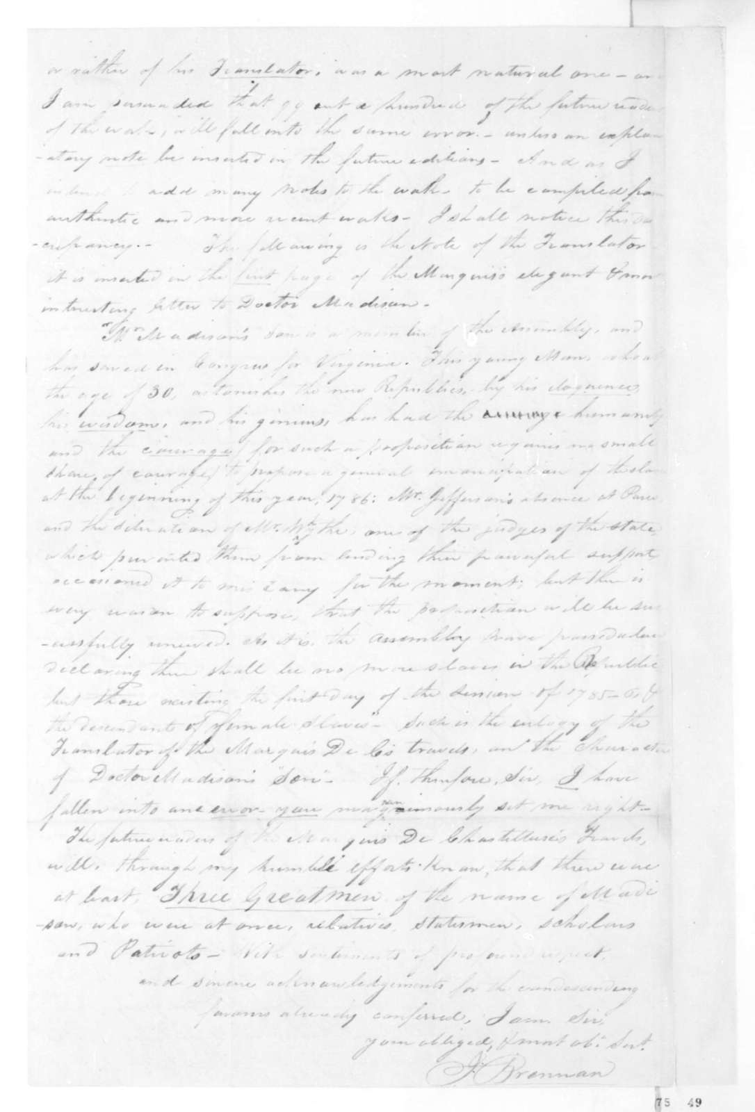 John Brennan to James Madison, September 16, 1825.