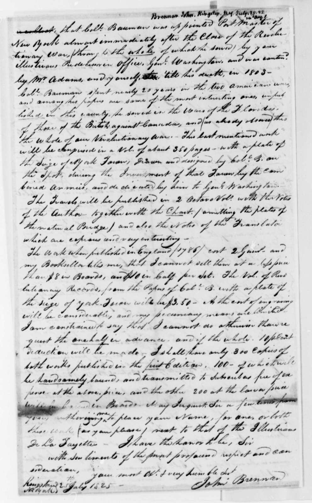 John Brennan to Thomas Jefferson, July 25, 1825