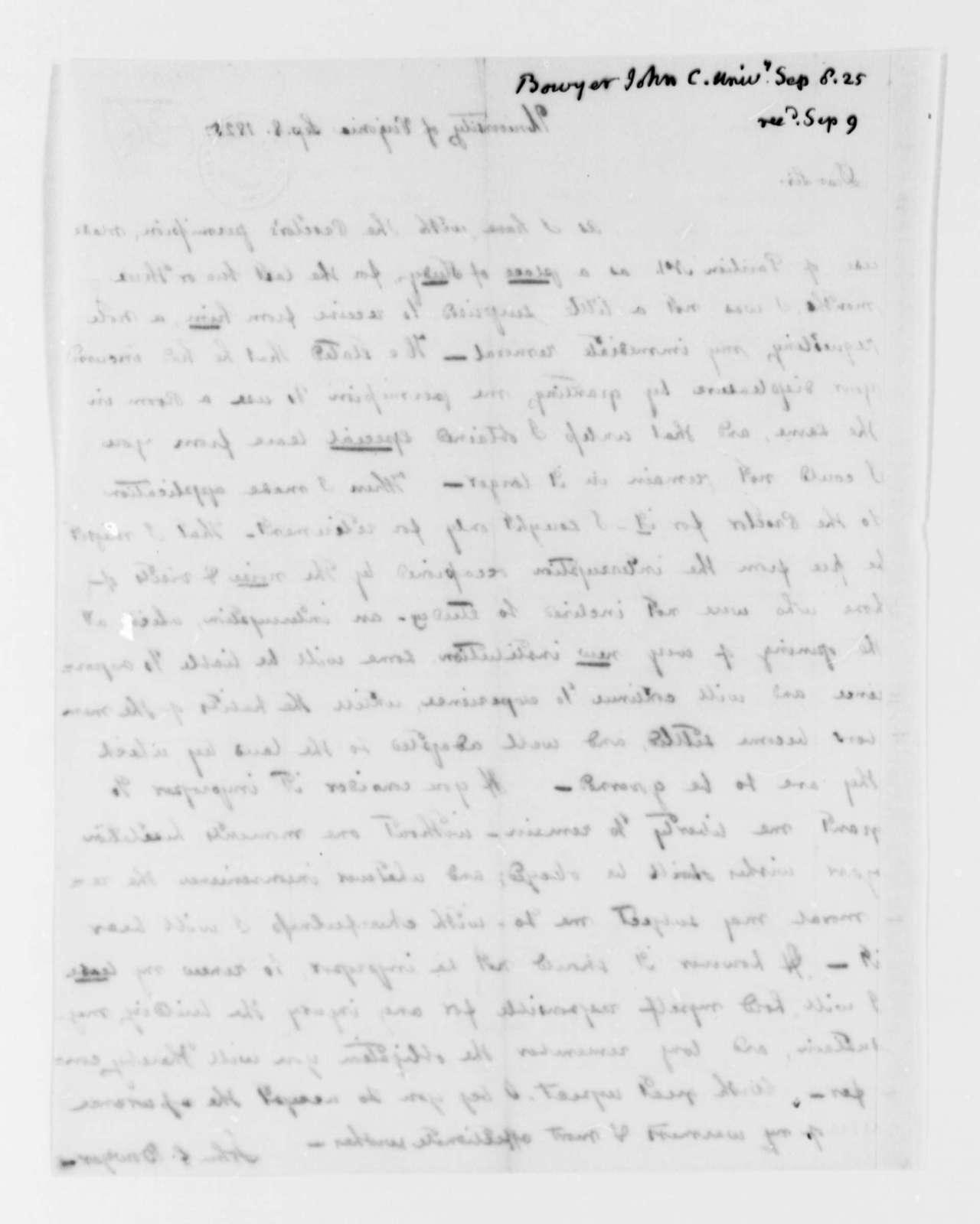 John C. Bowyer to Thomas Jefferson, September 8, 1825