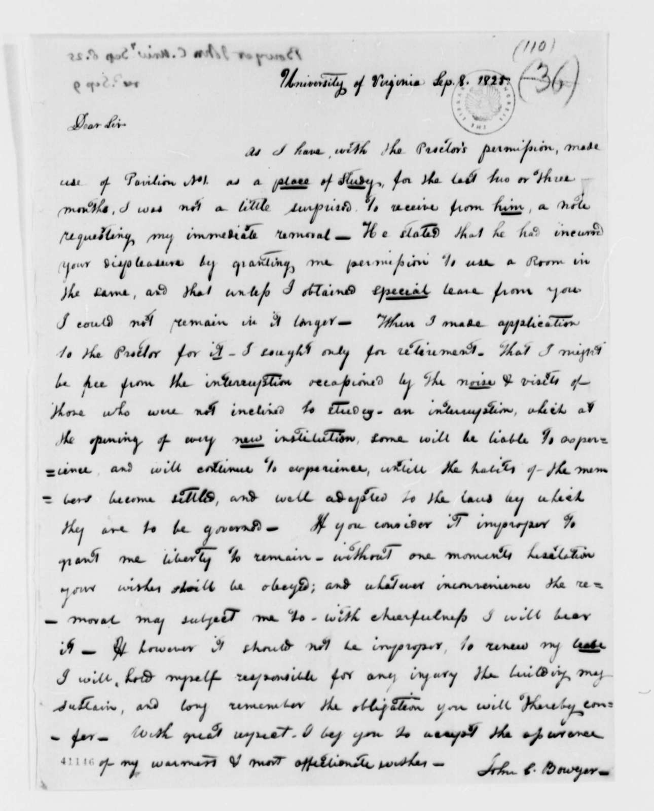 John C. Bowyer to Thomas Jefferson, September 8, 1825