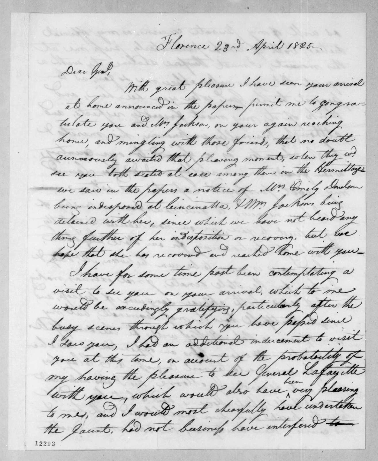 John Coffee to Andrew Jackson, April 23, 1825