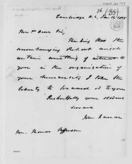 John Farrar to Thomas Jefferson, January 14, 1825
