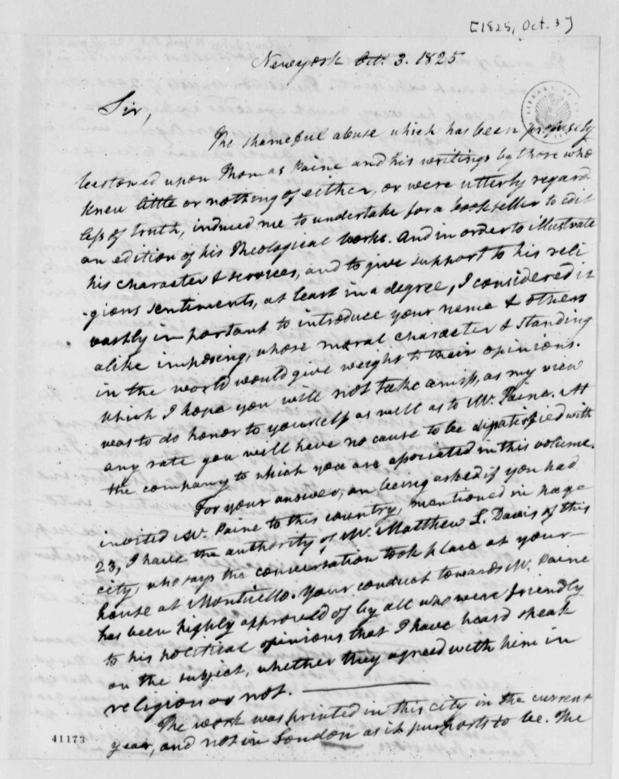 John Fellows to Thomas Jefferson, October 3, 1825