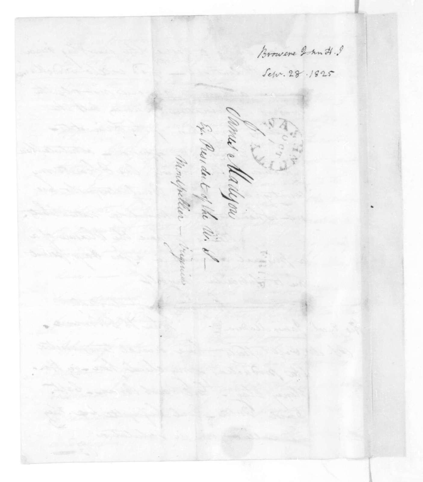 John H. J. Browere to James Madison, September 28, 1825.