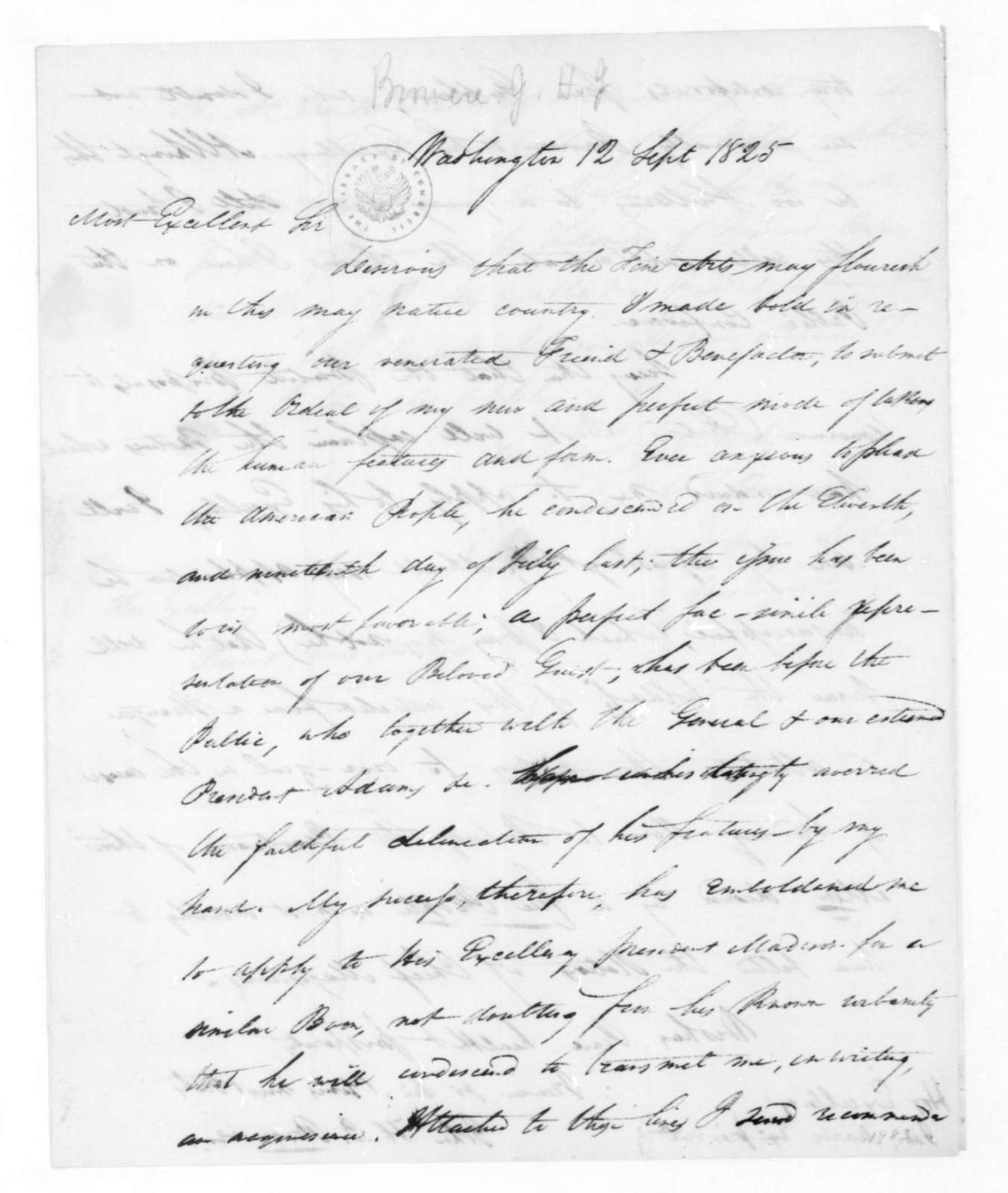 John H. J. Browere to James Monroe, September 12, 1825. Docketed to James Madison.