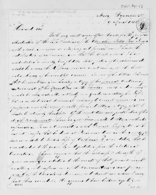 John Henry Sherburne to Thomas Jefferson, April 9, 1825