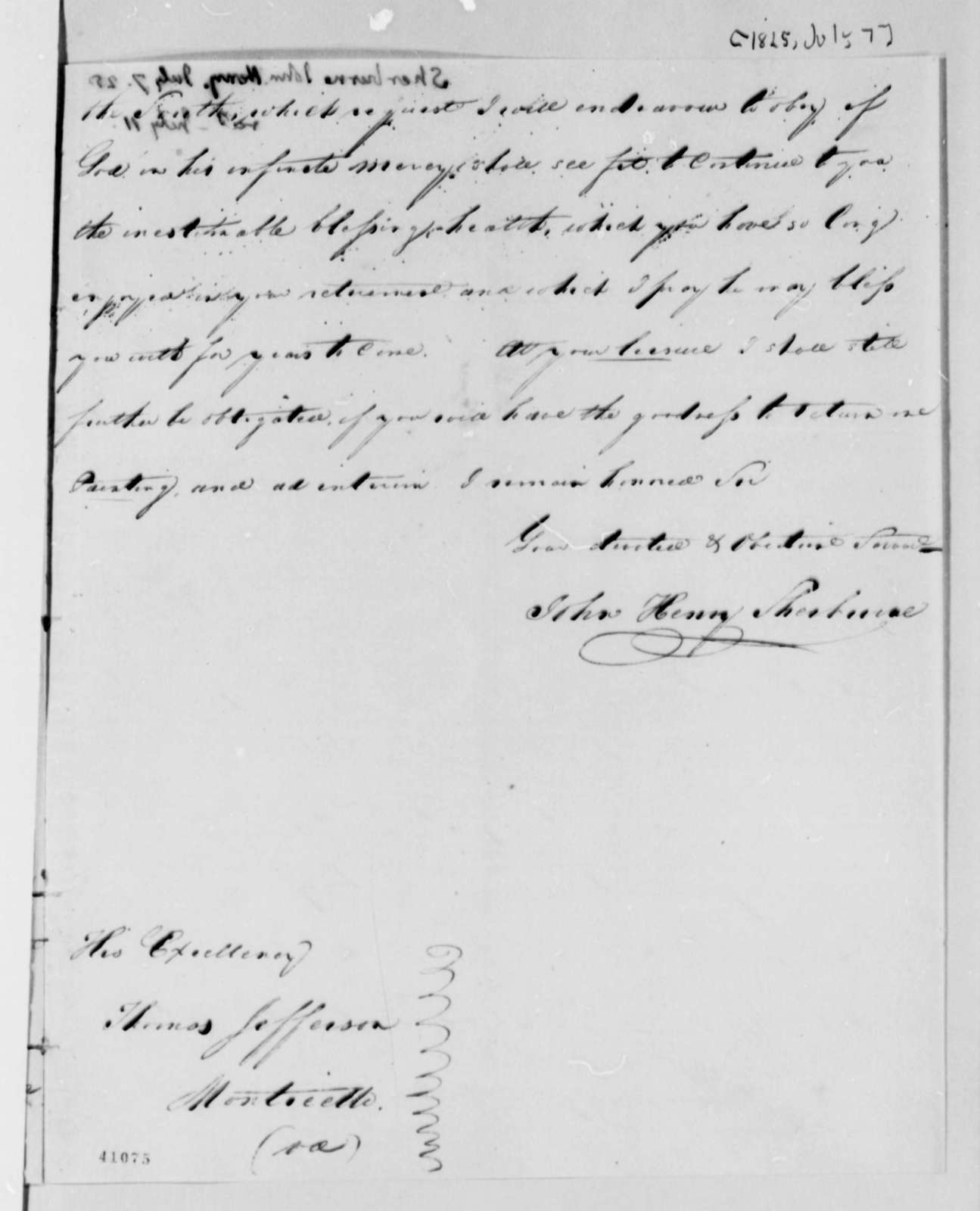 John Henry Sherburne to Thomas Jefferson, July 7, 1825