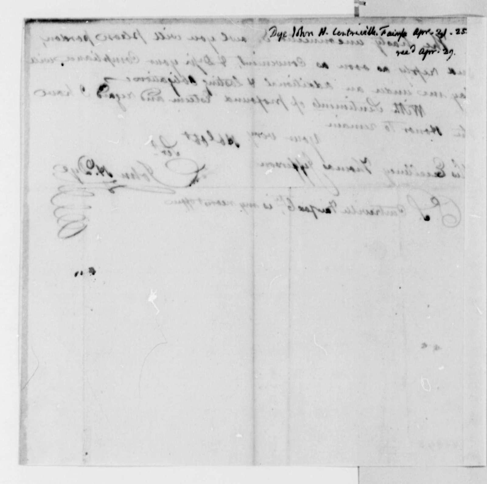 John M. Dye to Thomas Jefferson, April 21, 1825