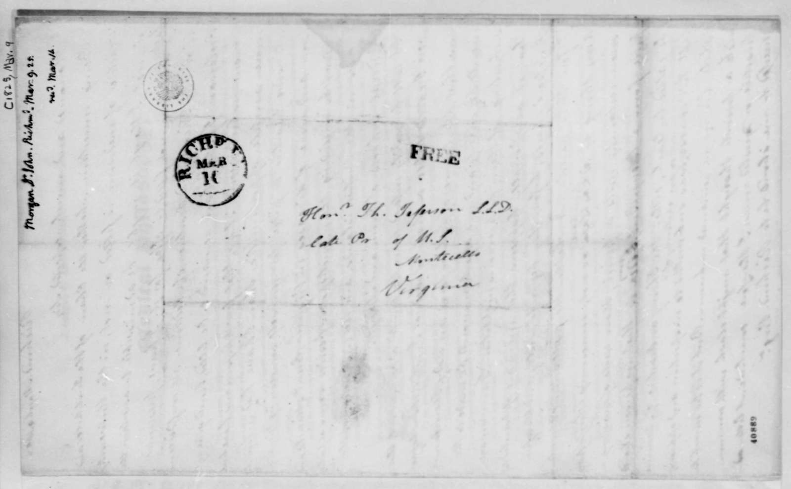 John Morgan to Thomas Jefferson, March 9, 1825, with Circular on Medical Philosophy