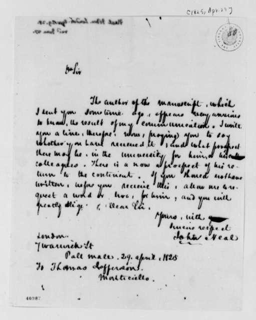 John Neal to Thomas Jefferson, April 29, 1825