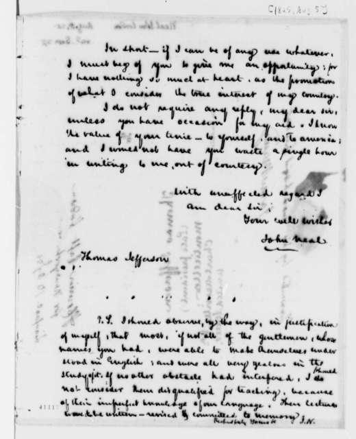 John Neal to Thomas Jefferson, August 5, 1825