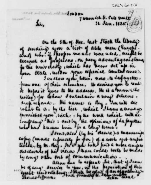 John Neal to Thomas Jefferson, January 31, 1825