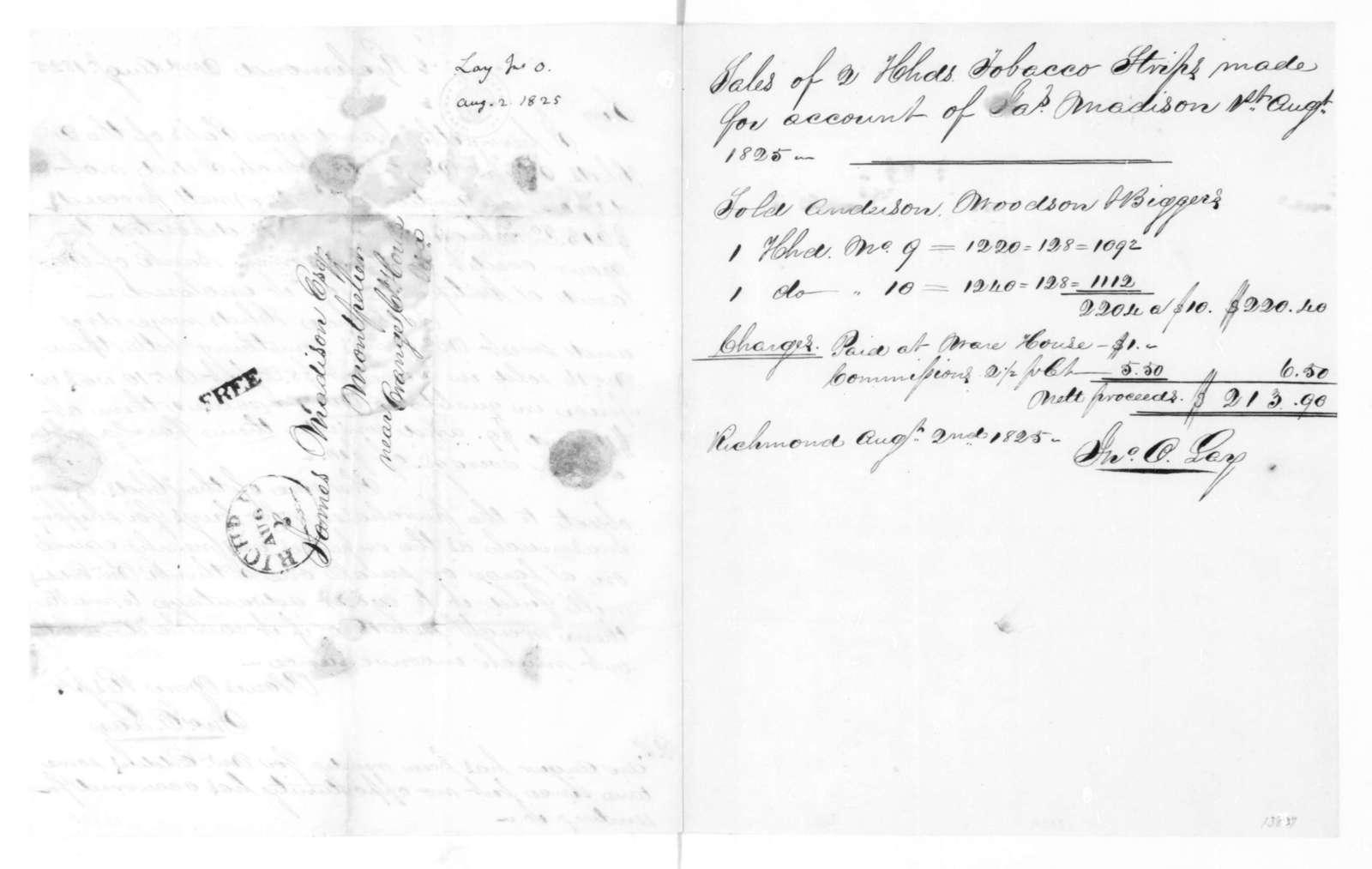 John O. Lay to James Madison, August 2, 1825.