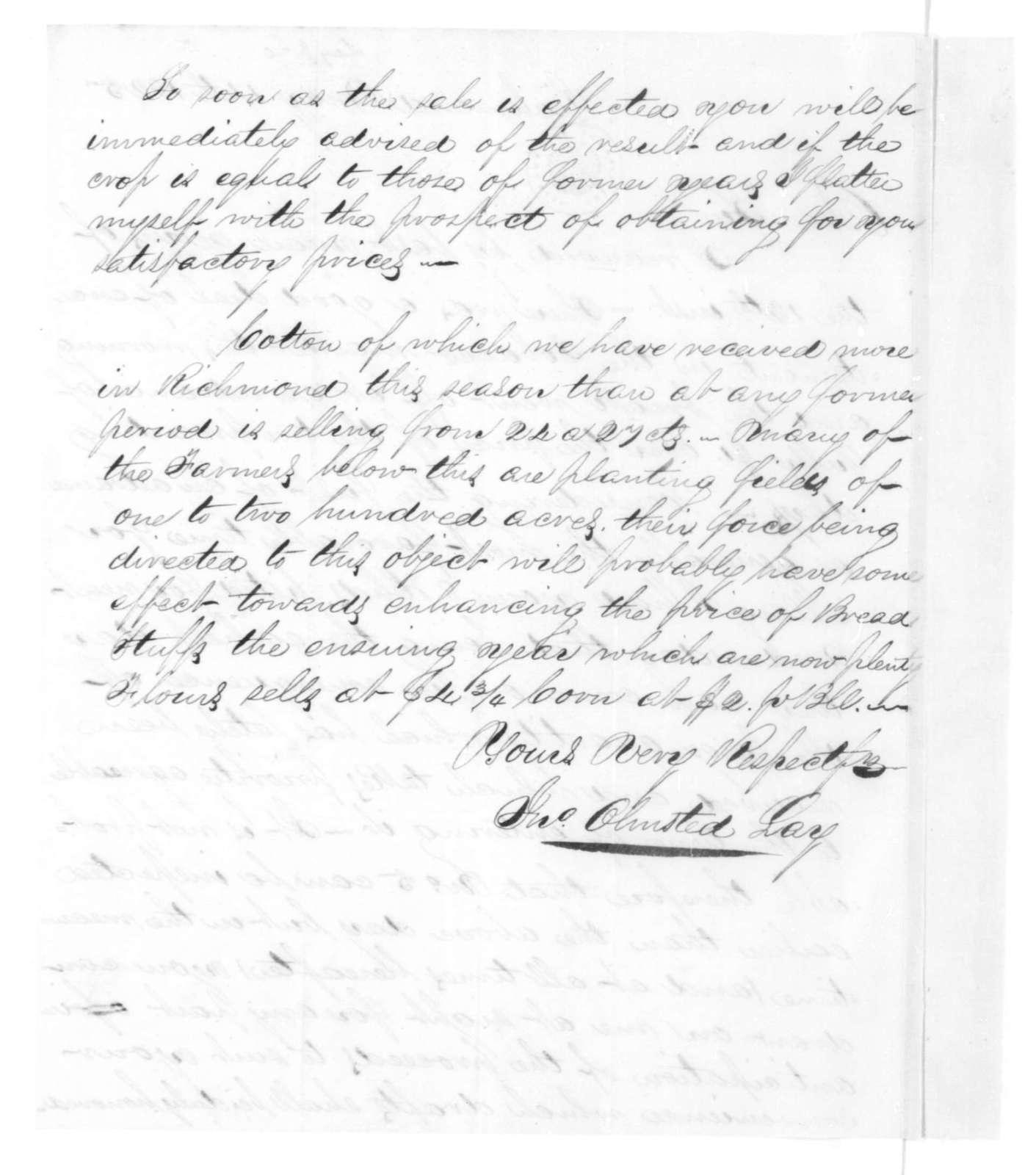 John Olmsted Lay to James Madison, May 14, 1825.