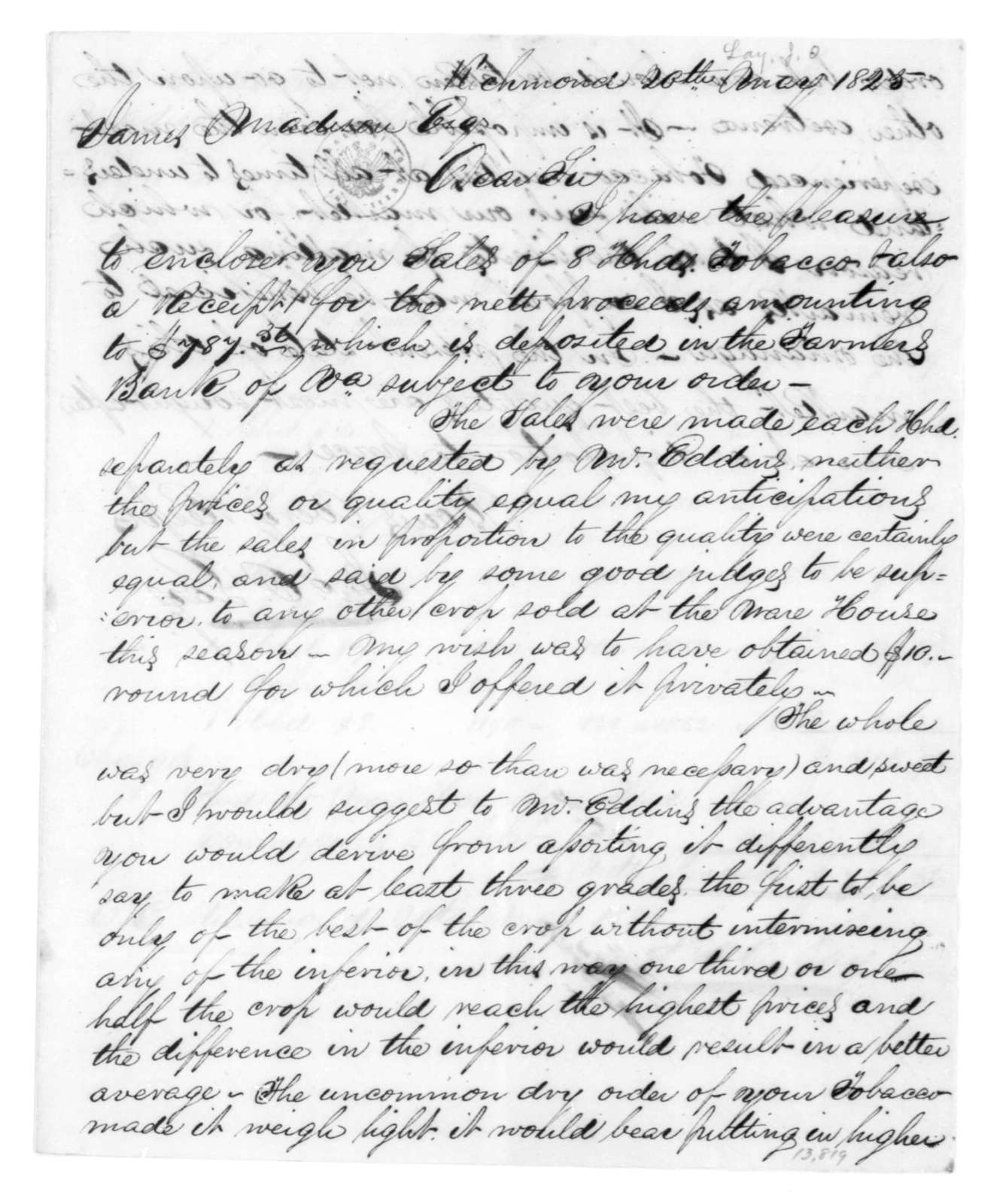 John Olmsted Lay to James Madison, May 20, 1825. Includes account of tobacco sales.