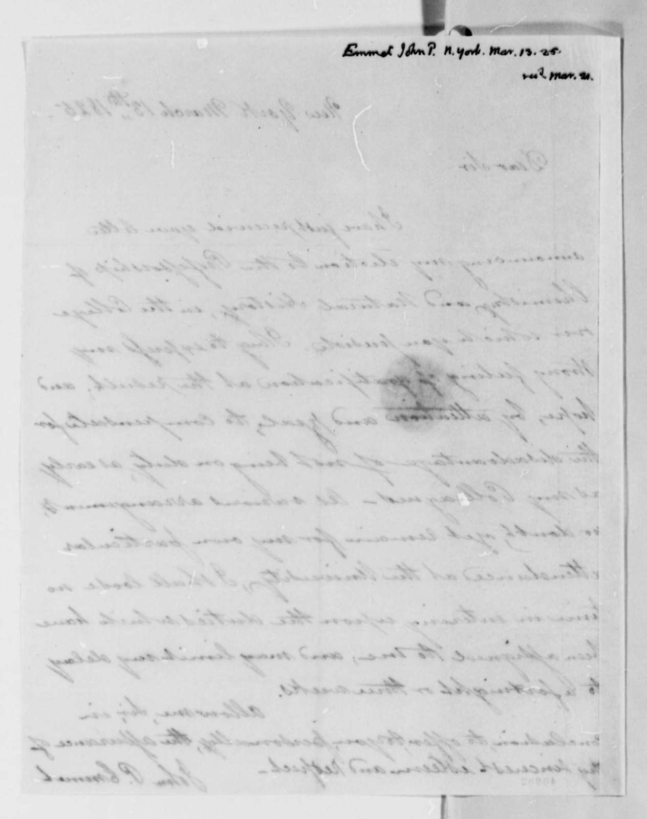 John Patten Emmet to Thomas Jefferson, March 13, 1825