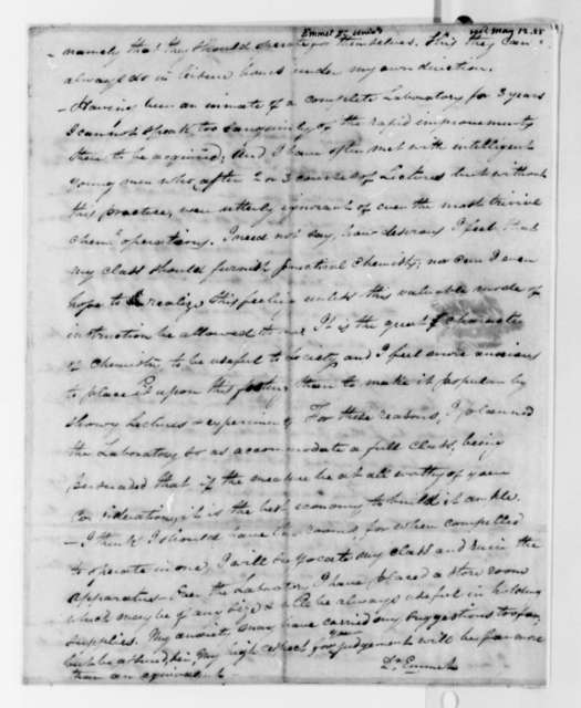 John Patten Emmet to Thomas Jefferson, May 12, 1825, with Drawing